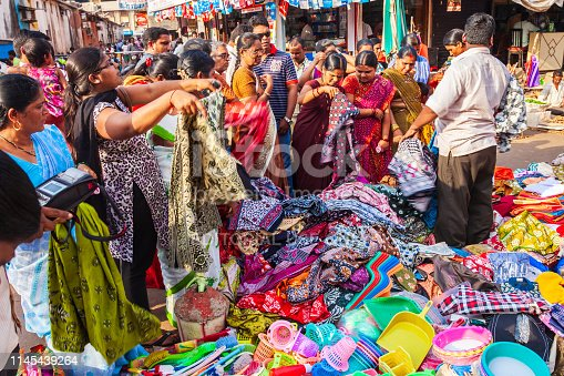 GOA, INDIA - APRIL 06, 2012: Indian dress and fabric at the local market in India