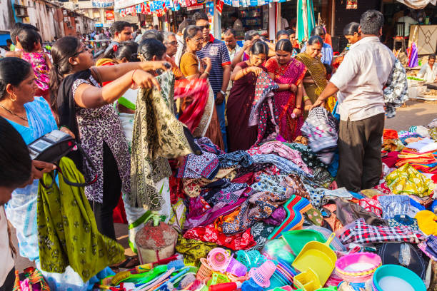 Local market shopping in India stock photo