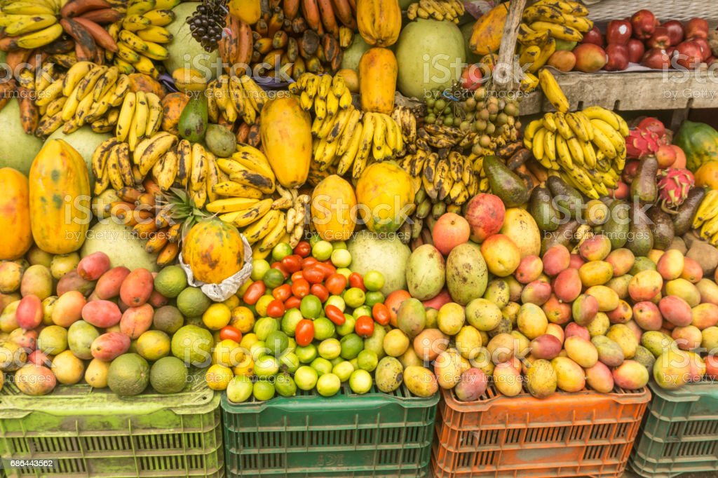local marketplace fruit shop from tropical country stock photo