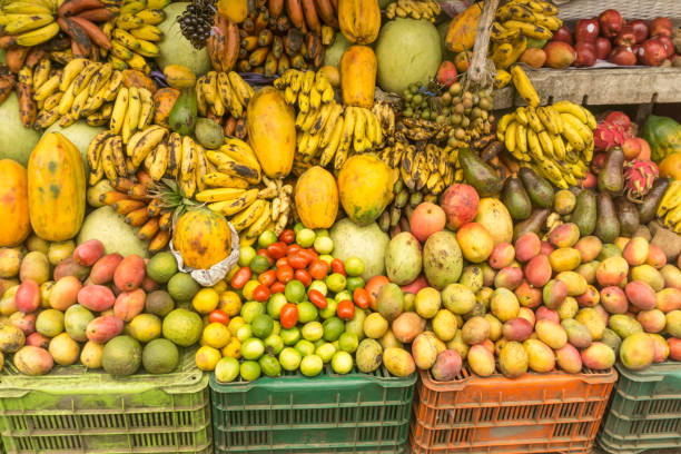 local marketplace fruit shop from tropical country - caribbean food stock photos and pictures