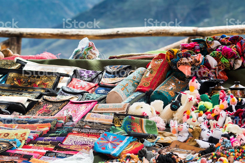 Local merchandise at Colca Canyon bazaar stock photo