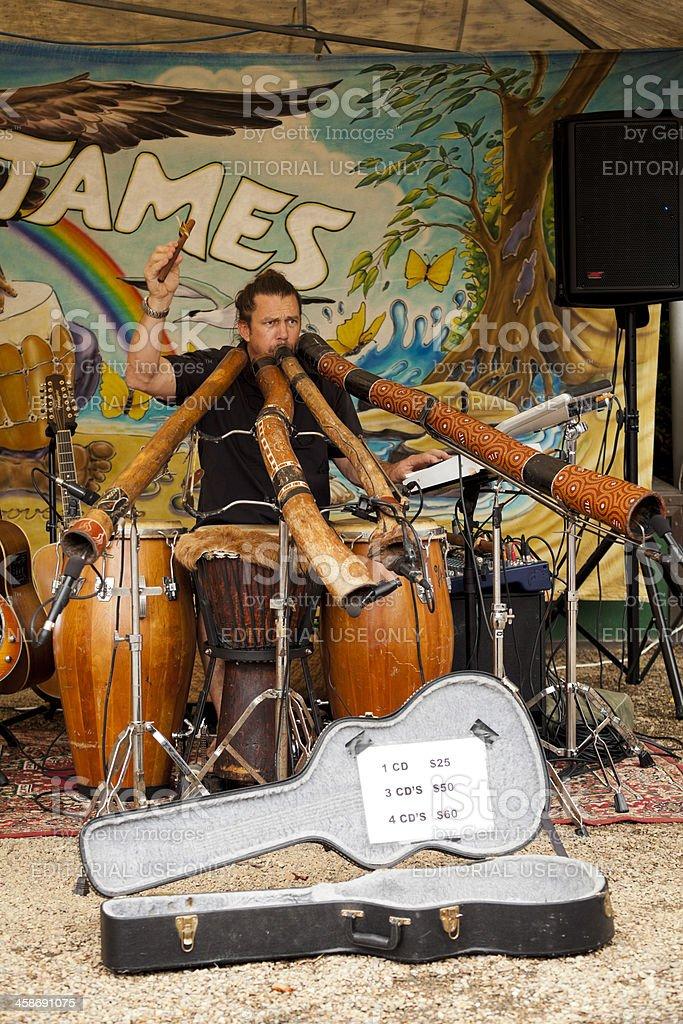 Local musician performs at Eumundi Markets royalty-free stock photo