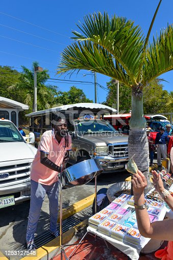 St. Thomas, US Virgin Islands - March 1, 2017:  A local musician sells CDs to tourists from cruise ship on the Caribbean island that relies on tourists for its economy.