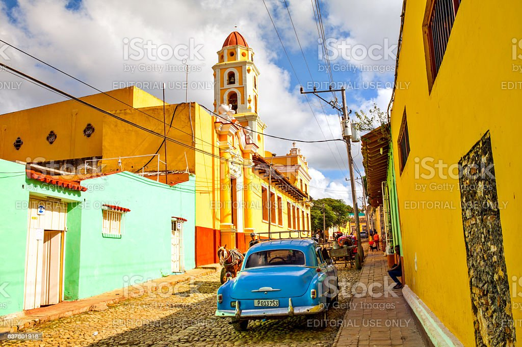 Local people and colorful houses in the colonial town of stock photo