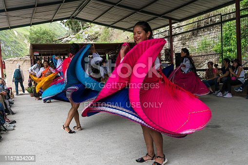 Alausi, Ecuador - March 2, 2019: Local dancing group in traditional clothing showing their dance.  Nariz del Diablo railway station.