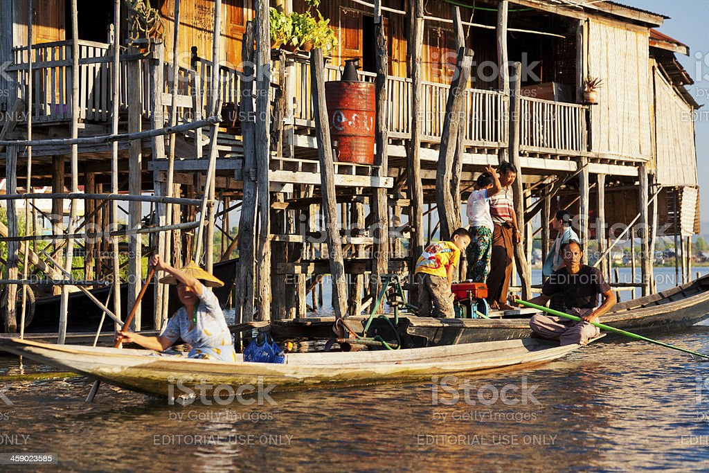 Local people in Inle Lake, Myanmar royalty-free stock photo