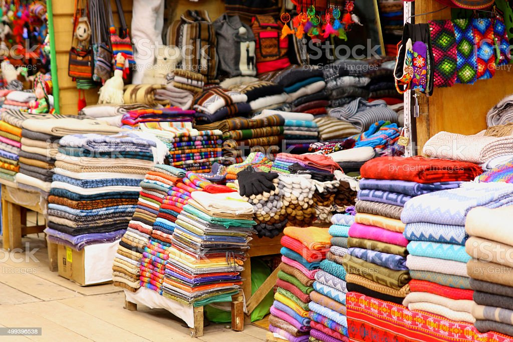 local Peruvian products. Cuzco streets.traditional arts stock photo