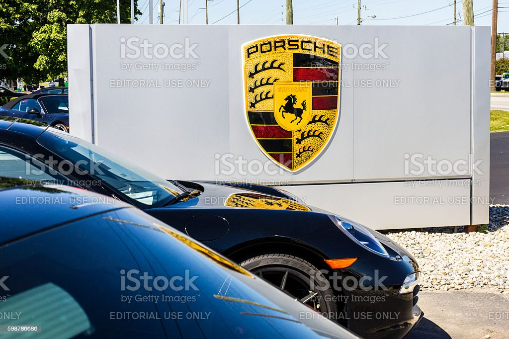 Local Porsche Dealership Displaying a New 911 II stock photo
