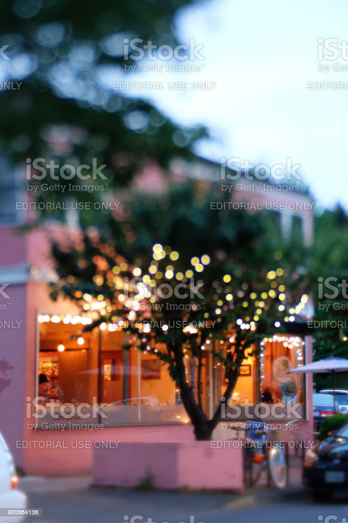 Local Restaurant in Early Evening stock photo