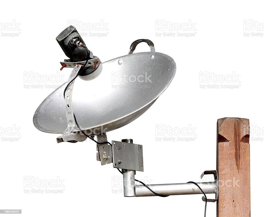local satellite dish made from pan royalty-free stock photo