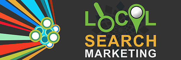 Local Search Marketing Colorful Dark stock photo