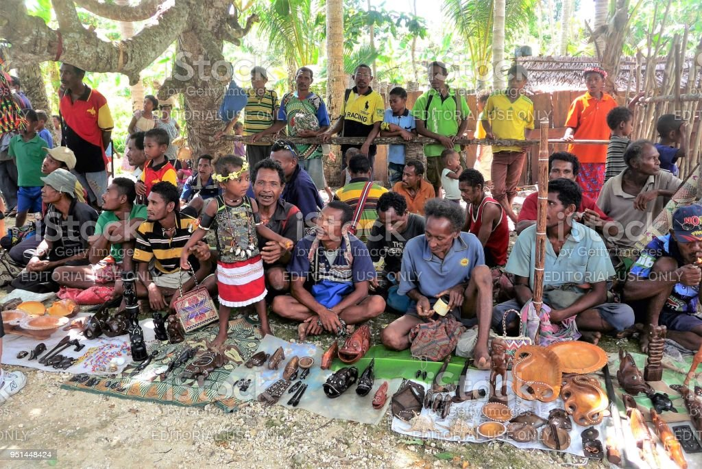 Local Sellers Of Arts And Craft On The Beach Kiriwina Island