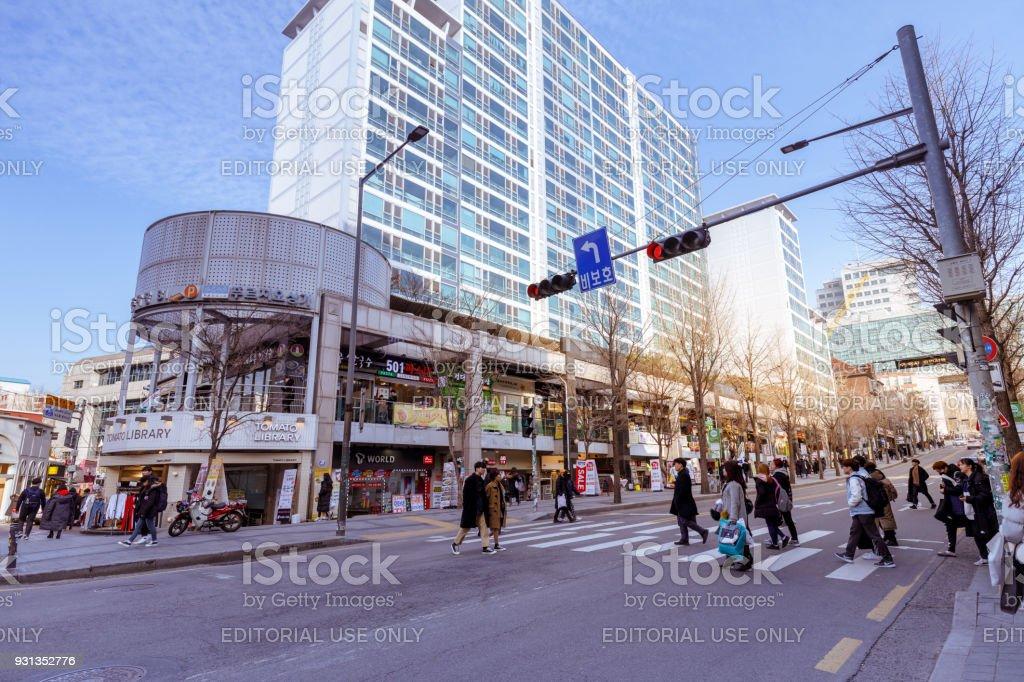 Local shops - lined at Hongdae shopping street. Hongdae is a shopping...