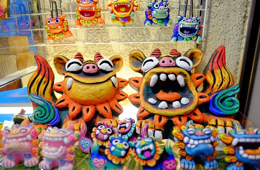 Local souvenir represent Japan Okinawa (pair of lucky lion)