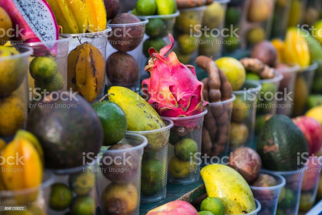Local street fruit shop in Luang Prabang stock photo