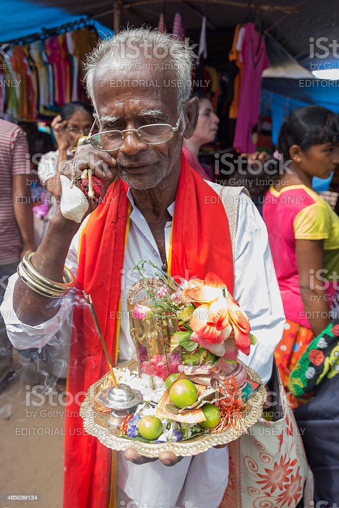 Local street vendor selling religious souvenirs. stock photo