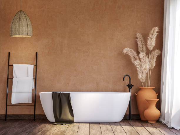 Local style bathroom with blank orange wall 3d render stock photo