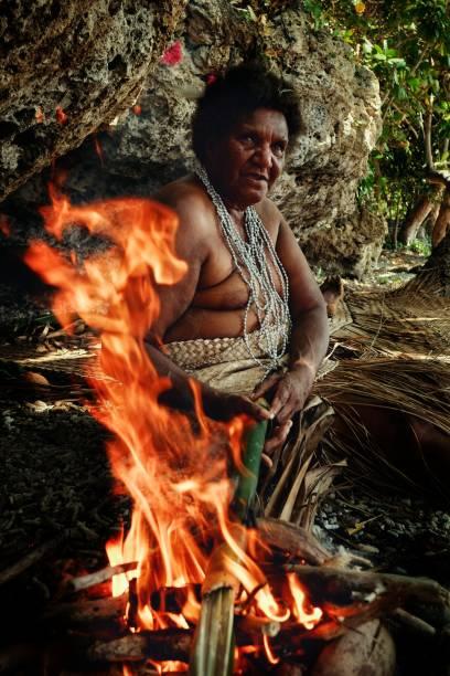 lokalen indianerin kochen traditionelle laplap am ufer tropischen meeres in bambus über dem feuer während einer dorf-feier - kochinsel stock-fotos und bilder