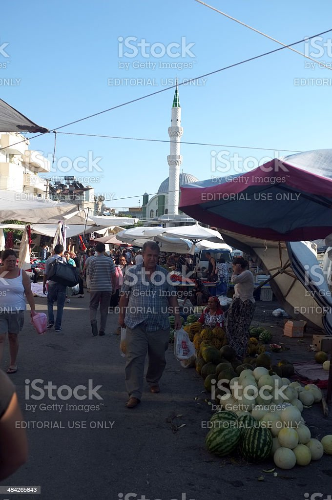Traditional local outdoor market alongside the mosque, offers cheap...