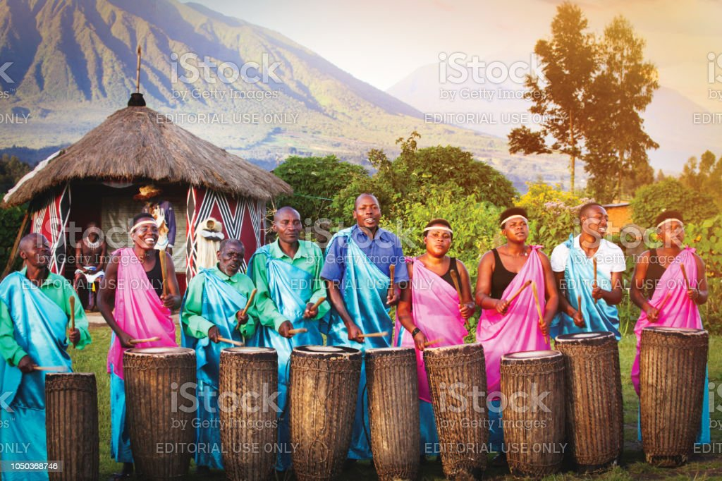Local villagers performing traditional music stock photo