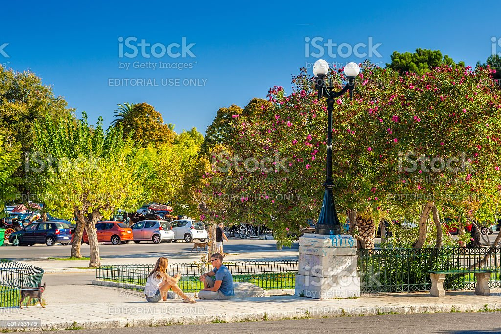 Locals and tourists at Platia Leonida Vlachou park stock photo