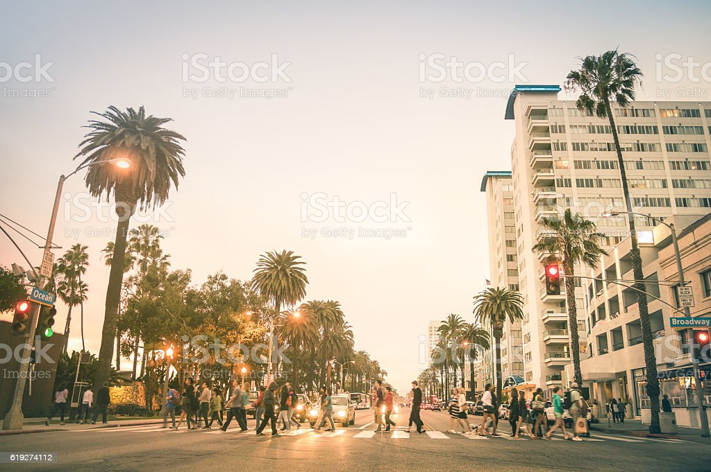 Locals and tourists walking on Ocean Ave in Santa Monica stock photo