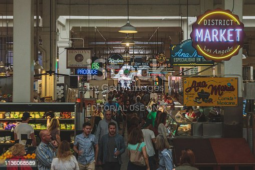 March 17, 2016 - Los Angeles, USA: Locals eating and shopping at Grand Central Market in downtown Los Angeles