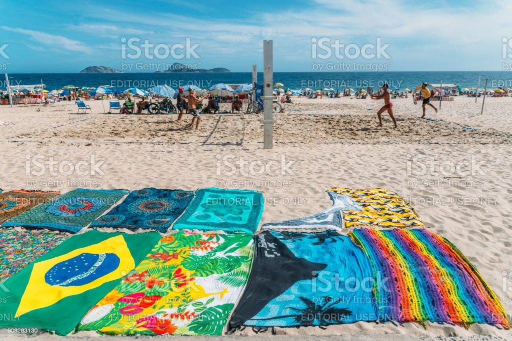 Locals, known as cariocas, play beach tennis on the beach in Ipanema, Rio de Janeiro, Brazil stock photo