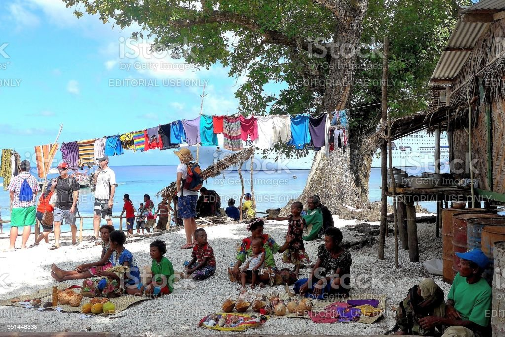 Locals offering their Wares for sale to Island Visitors stock photo
