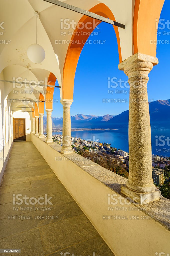 Locarno and Lake Maggiore from the Madonna del Sasso stock photo