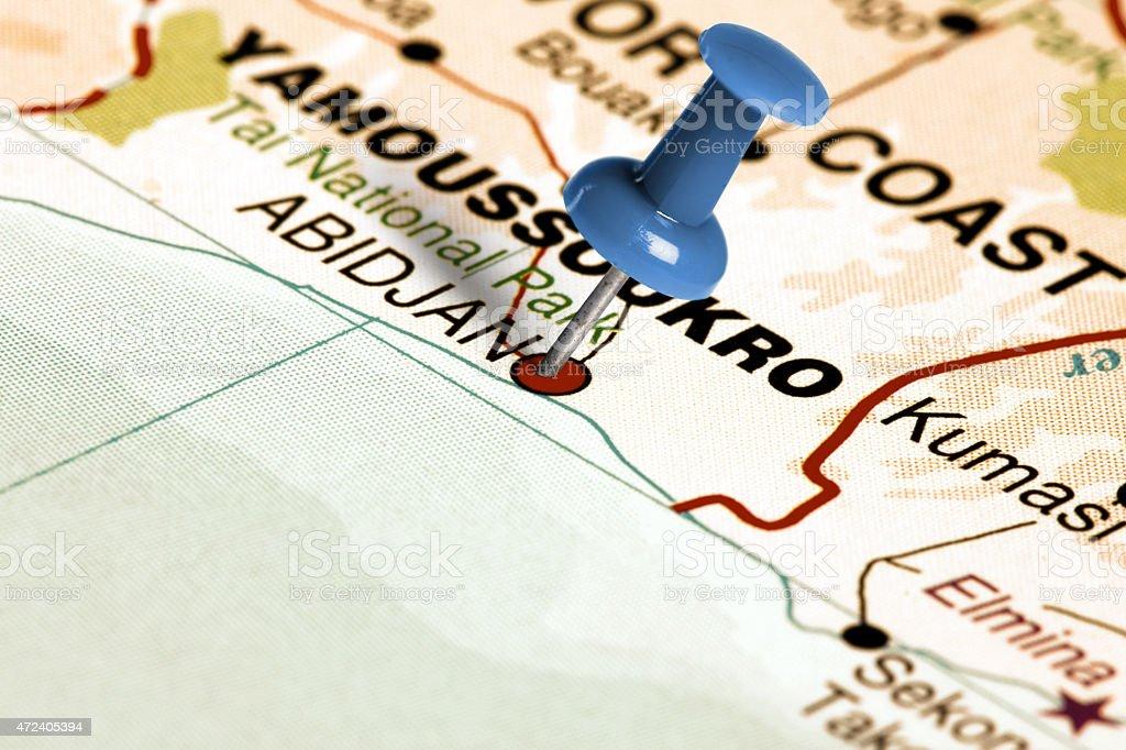 Location Abidjan. Blue pin on the map. stock photo