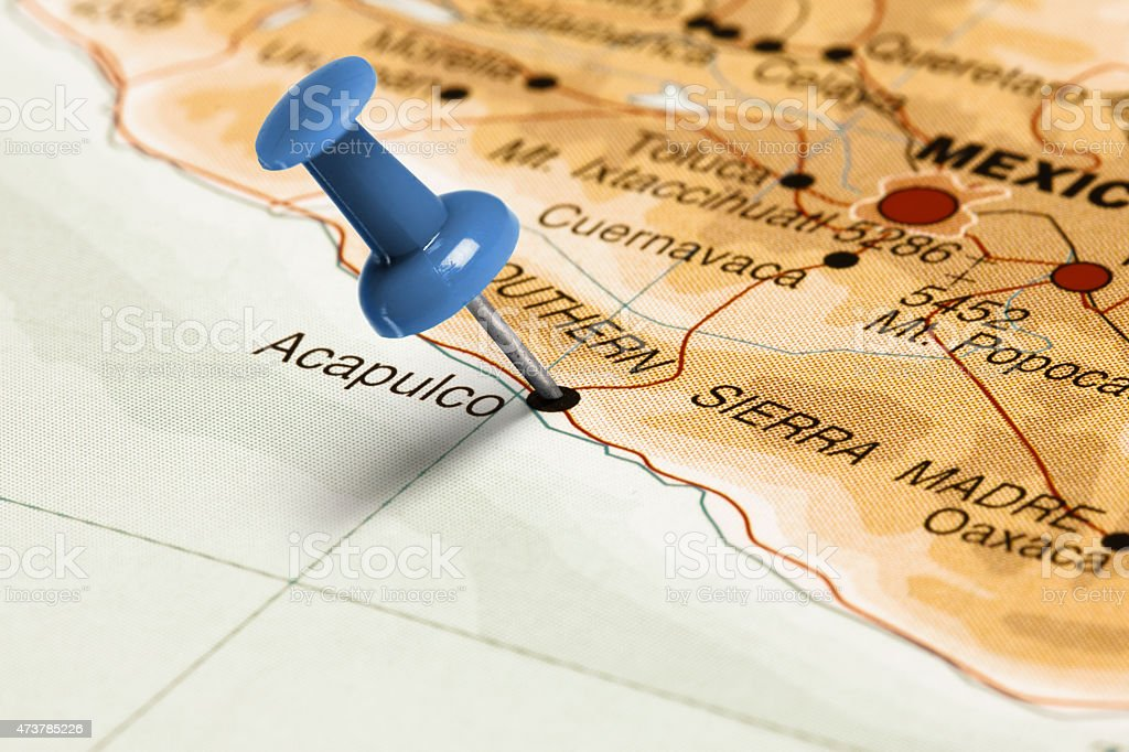 Location Acapulco Blue Pin On The Map Stock Photo & More Pictures of ...