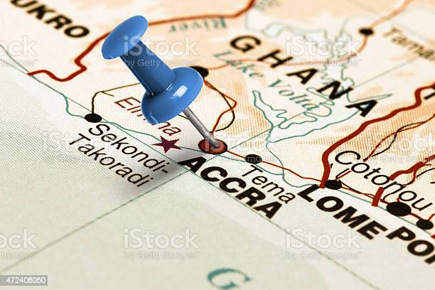 Location Accra. Blue pin on the map.