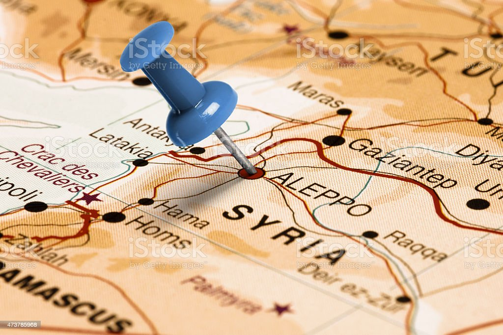 Location Aleppo. Blue pin on the map. stock photo