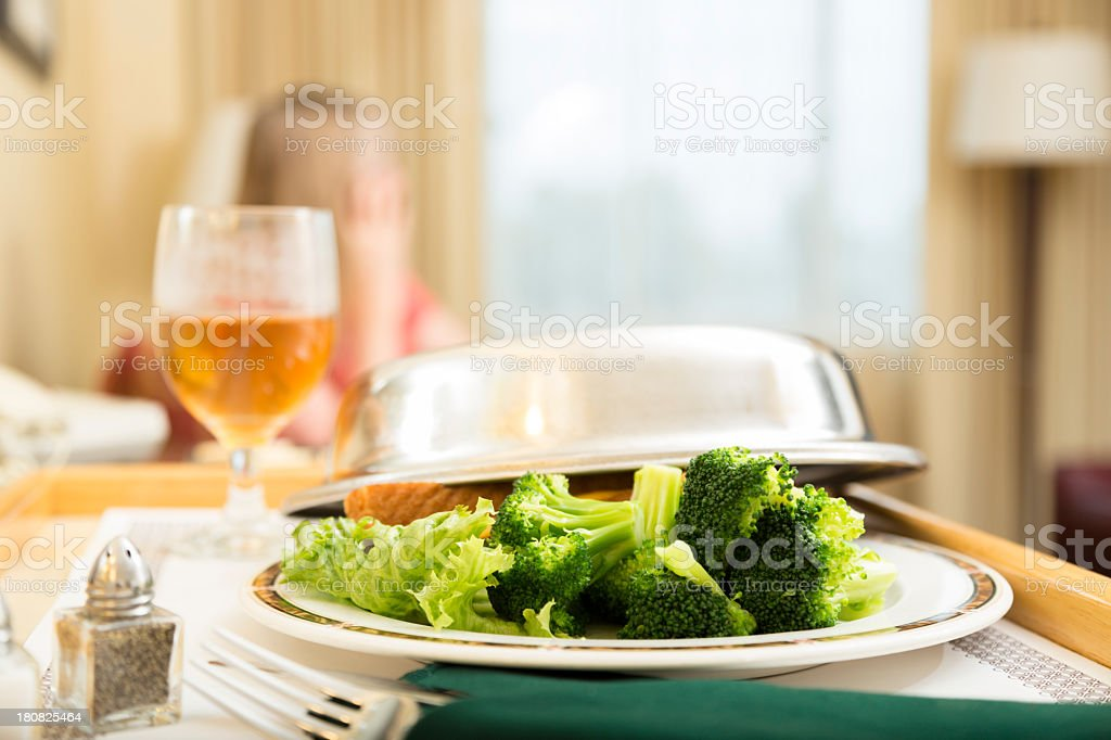 Location and Travel:  Room Service in hotel suite. stock photo