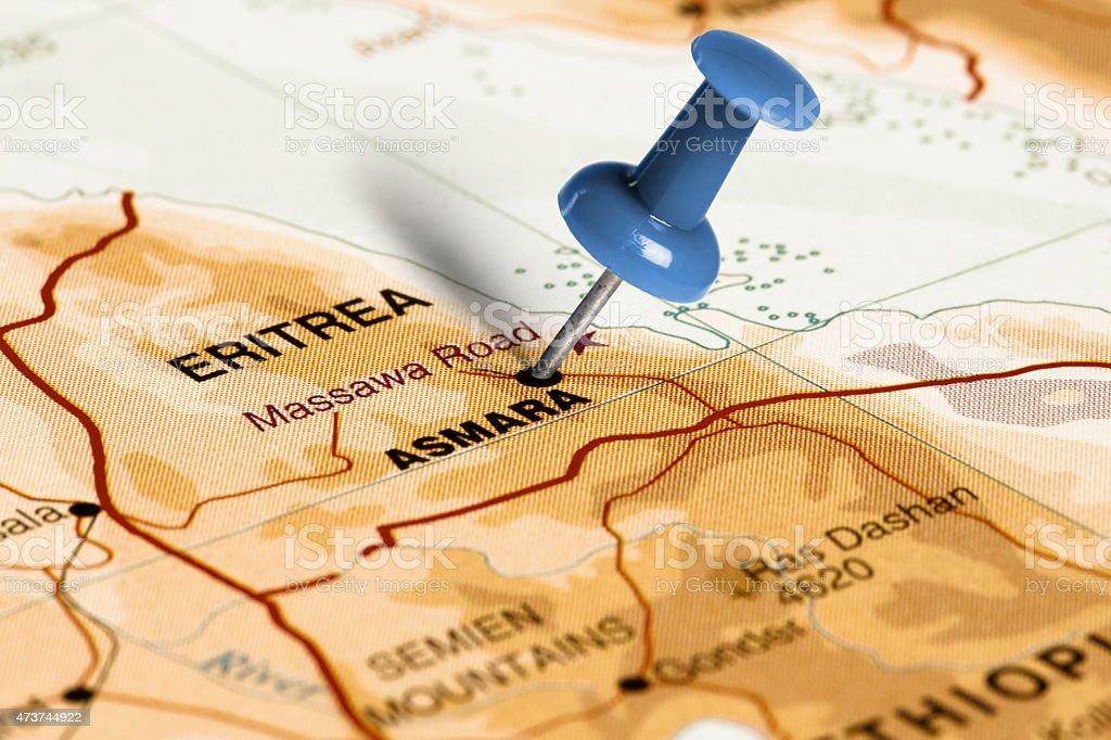 Location Asmara. Blue pin on the map. stock photo