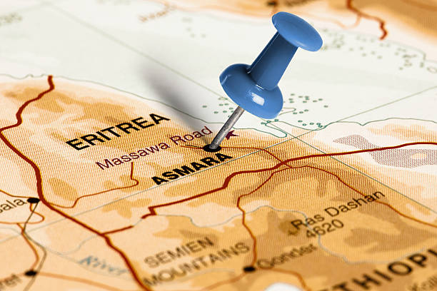 location asmara. blue pin on the map. - eritrea stock photos and pictures