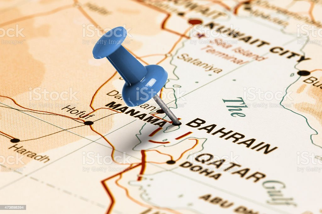 Location Bahrain Blue Pin On The Map Stock Photo & More Pictures of ...