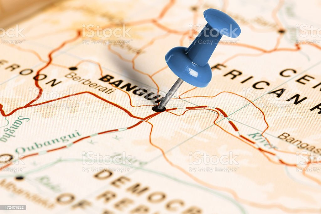 Location Bangui. Blue pin on the map. stock photo