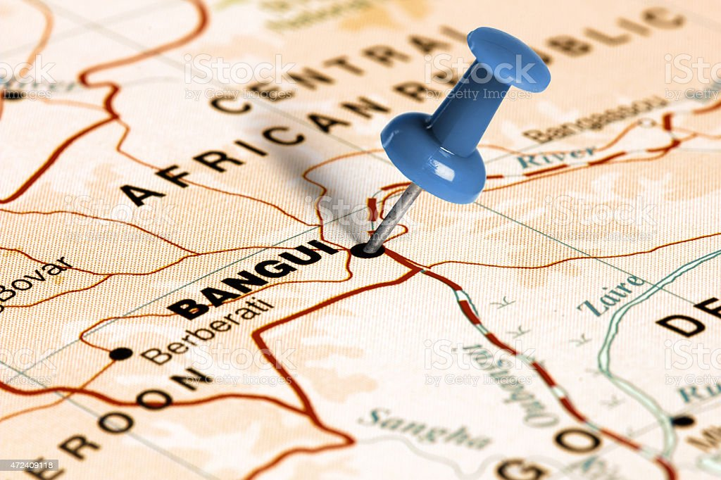 Location Bangui Blue Pin On The Map Stock Photo More Pictures of