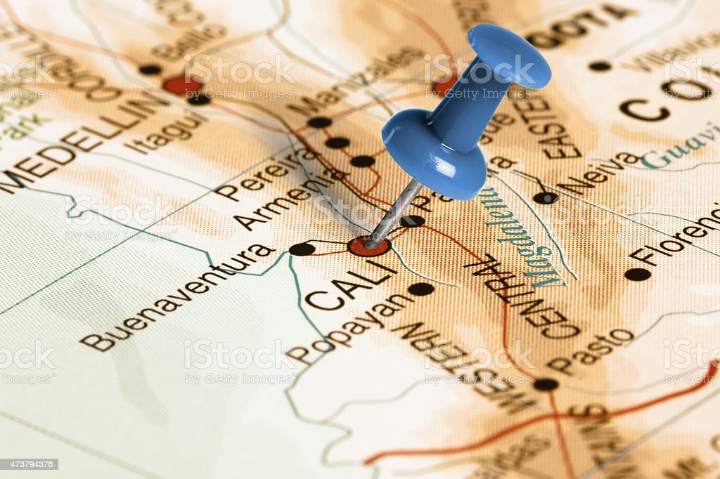 Location Cali. Blue pin on the map. stock photo