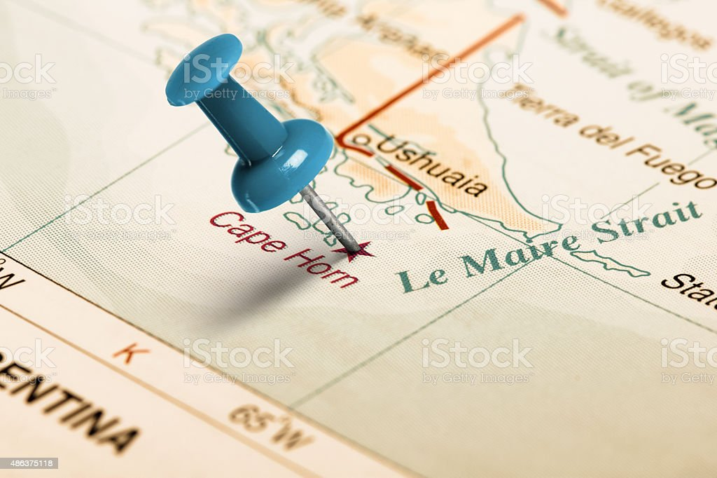 Location Cape Horn Blue Pin On The Map Stock Photo ...