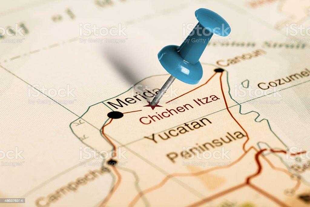 Location Chichen Itza Blue Pin On The Map Stock Photo IStock - Chichen itza map