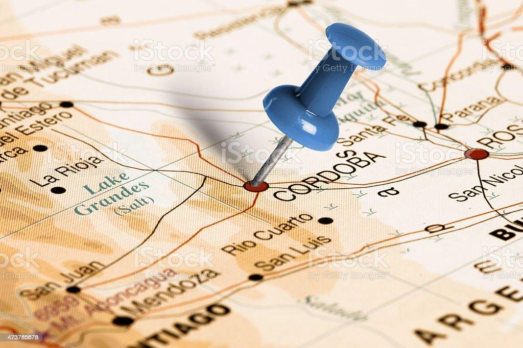 Location Cordoba. Blue pin on the map. stock photo