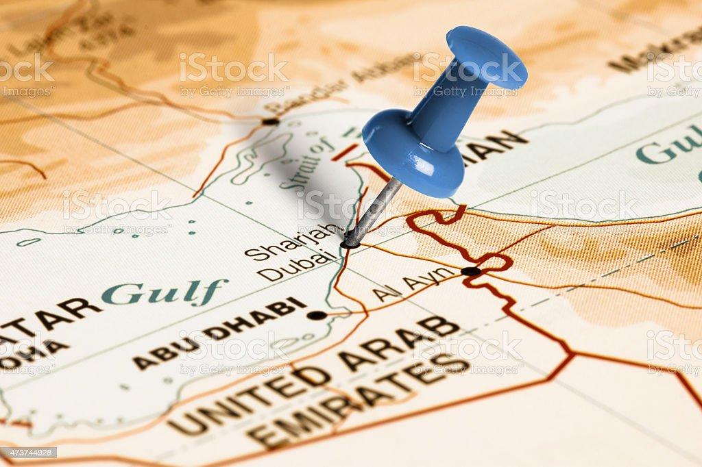 Dubai Sulla Cartina Geografica.Sede A Dubai Blu Segnaposto Sulla Mappa Fotografie Stock E Altre Immagini Di 2015 Istock