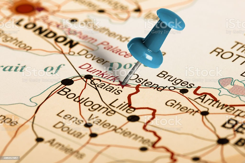 Location Dunkirk. Blue pin on the map. stock photo