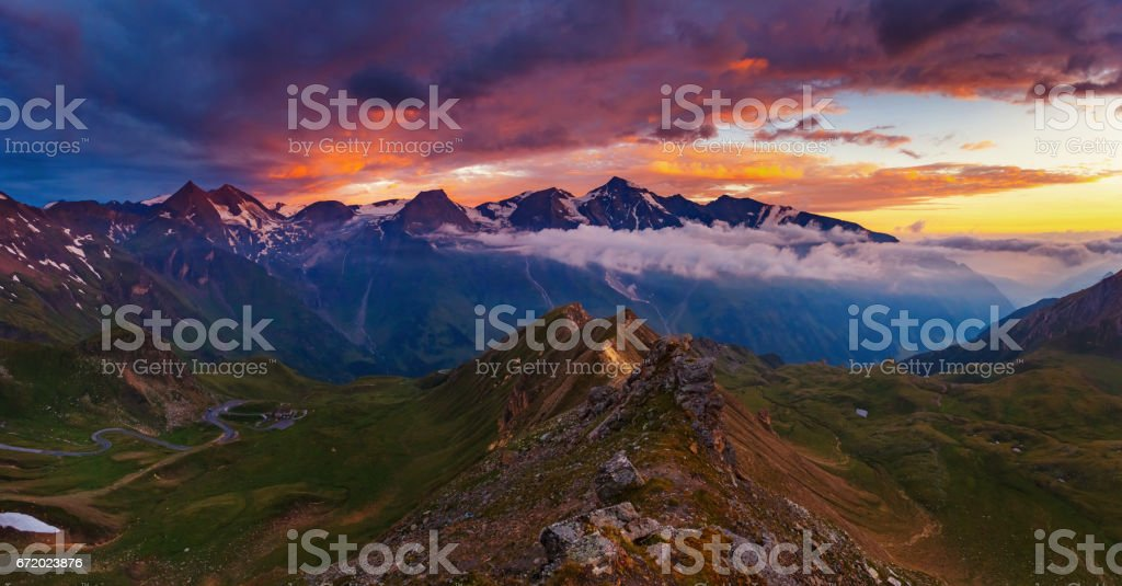 Location famous resort Grossglockner High Alpine Road, Austria. stock photo