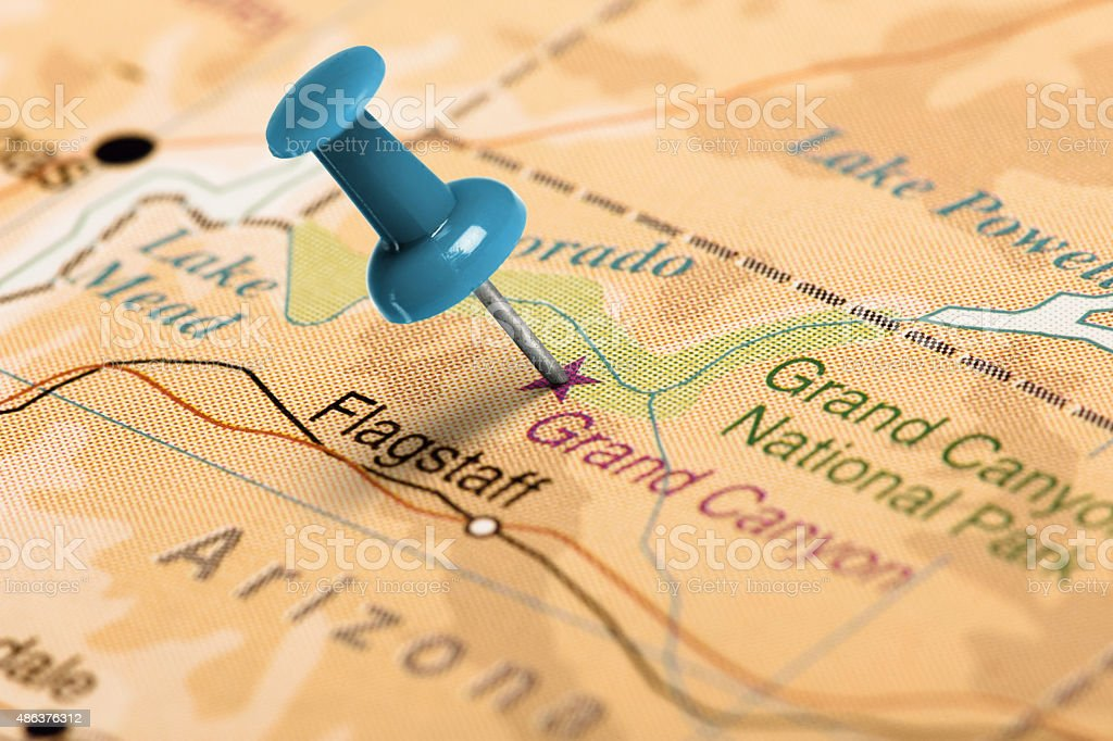 Location Grand Canyon Blue Pin On The Map Stock Photo More