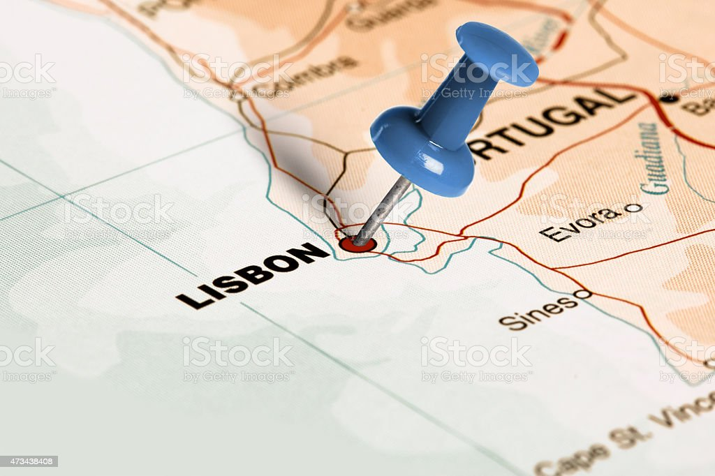 Location Lisbon Blue Pin On The Map Stock Photo More Pictures of