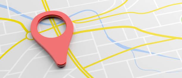 Lagemarkierung rote Farbe auf Karte Hintergrund, Banner. 3d-Illustration – Foto